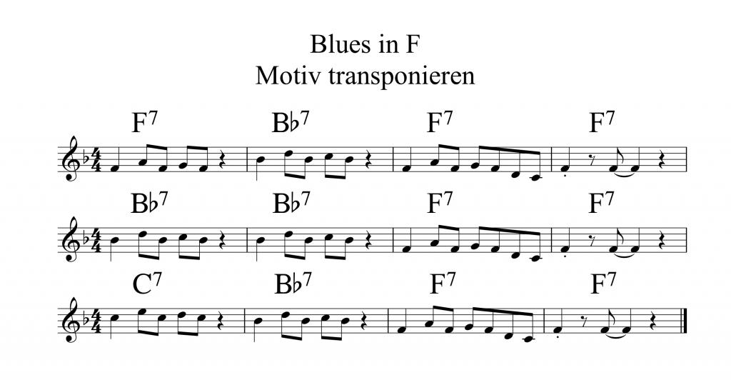 Blues in F Motiv transponieren